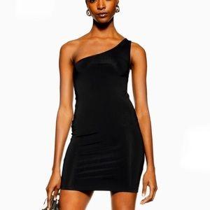 Topshop Black Bodycon One Shoulder Mini Dress